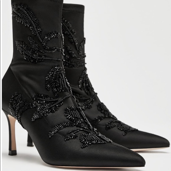 dbc60854cf3 Zara EMBROIDERED SATIN HEELED ANKLE BOOTS BLK NWT